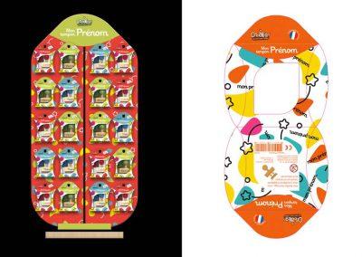 Créalign' - Gamme Prénom bois - Habillage du packaging et du présentoir